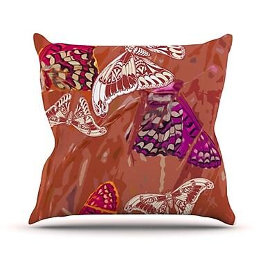 KESS InHouse Butterflies Party Outdoor Throw Pillow; Brown