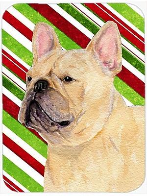 Caroline's Treasures French Bulldog Candy Cane Holiday Christmas Glass Cutting Board