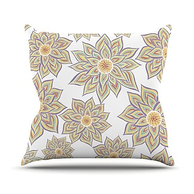 KESS InHouse Floral Dance Outdoor Throw Pillow; White