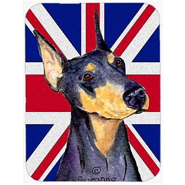 Caroline's Treasures Union Jack Doberman w/ English British Flag Glass Cutting Board