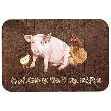 Caroline's Treasures Welcome to the Farm w/ the Pig and Chicken Glass Cutting Board