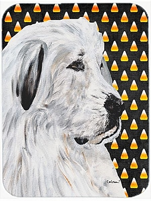 Caroline's Treasures Halloween Candy Corn Great Pyrenees Glass Cutting Board