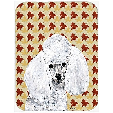 Caroline's Treasures Fall Leaves Toy Poodle Glass Cutting Board