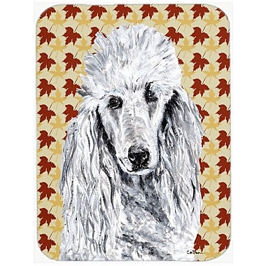 Caroline's Treasures Fall Leaves Standard Poodle Glass Cutting Board