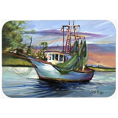 Caroline's Treasures Jeannie Shrimp Boat Glass Cutting Board