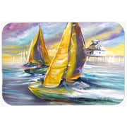 Caroline's Treasures Sailboat w/ Middle Bay Lighthouse Glass Cutting Board
