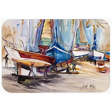 Caroline's Treasures On the Hill Sailboats Glass Cutting Board