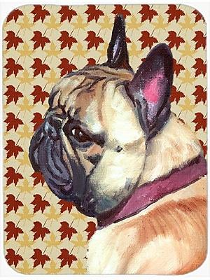 Caroline's Treasures Fall Leaves French Bulldog Frenchie Glass Cutting Board