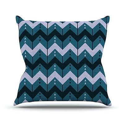 KESS InHouse Chevron Dance Outdoor Throw Pillow; Blue