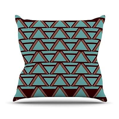 KESS InHouse Deco Angles Outdoor Throw Pillow; Choco / Mint