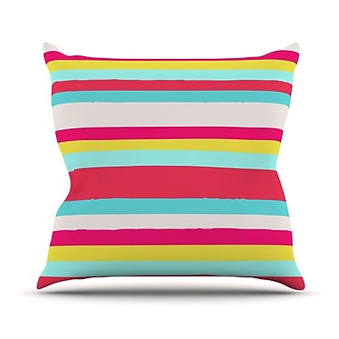 KESS InHouse Girly Surf Stripes Outdoor Throw Pillow