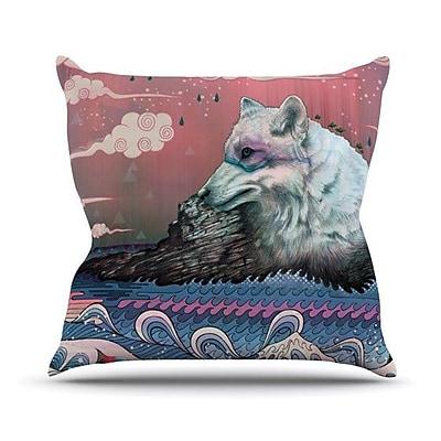 KESS InHouse Lone Wolf Outdoor Throw Pillow