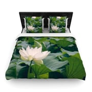 KESS InHouse White Lotus by Catherine McDonald Woven Duvet Cover; King/California King