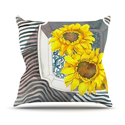 KESS InHouse Finall Sunflower Outdoor Throw Pillow