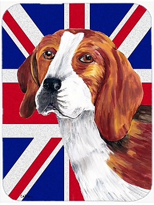 Caroline's Treasures Union Jack Beagle w/ English British Flag Glass Cutting Board