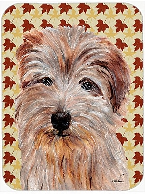 Caroline's Treasures Fall Leaves Norfolk Terrier Glass Cutting Board