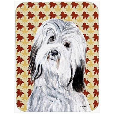 Caroline's Treasures Fall Leaves Havanese Glass Cutting Board