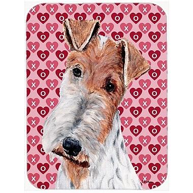 Caroline's Treasures Wire Fox Terrier Hearts and Love Glass Cutting Board