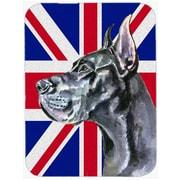 Caroline's Treasures Union Jack Great Dane w/ English British Flag Glass Cutting Board