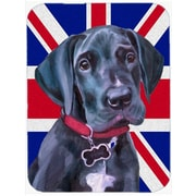 Caroline's Treasures Union Jack Great Dane Puppy w/ English British Flag Glass Cutting Board