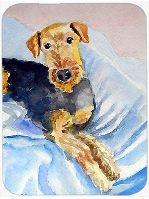 Caroline's Treasures Cozy Airedale Terrier Glass Cutting Board