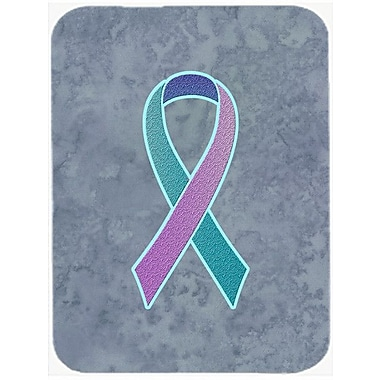 Caroline's Treasures Ribbon for Awareness Glass Cutting Board; Teal/Pink/Blue