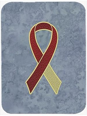 Caroline's Treasures Ribbon for Awareness Glass Cutting Board; Burgundy/Ivory