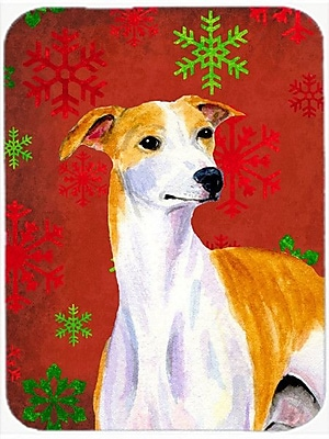 Caroline's Treasures Snowflakes Whippet Glass Cutting Board; Red/Green