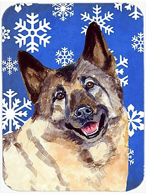 Caroline's Treasures Snowflakes Norwegian Elkhound Glass Cutting Board; Blue/White