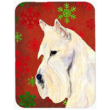 Caroline's Treasures Snowflakes Scottish Terrier Glass Cutting Board; Red/Green