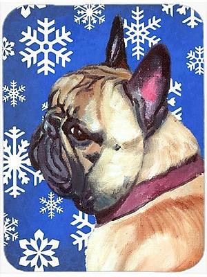 Caroline's Treasures Snowflakes French Bulldog Frenchie Glass Cutting Board; Blue/White