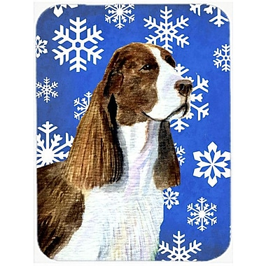 Caroline's Treasures Snowflakes Springer Spaniel Glass Cutting Board; Blue/White