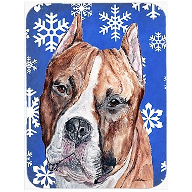 Caroline's Treasures Snowflakes Staffordshire Bull Terrier Staffie Glass Cutting Board; Blue/White