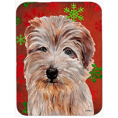 Caroline's Treasures Snowflakes Norfolk Terrier Glass Cutting Board; Red/Green