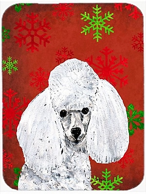 Caroline's Treasures Snowflakes Toy Poodle Glass Cutting Board; Red/Green