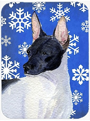 Caroline's Treasures Snowflakes Rat Terrier Glass Cutting Board; Blue/White