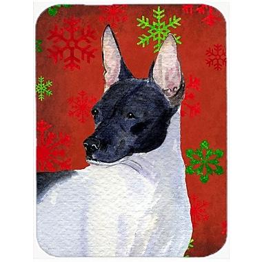 Caroline's Treasures Snowflakes Rat Terrier Glass Cutting Board; Red/Green