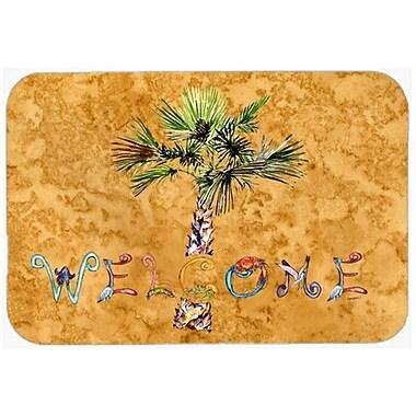 Caroline's Treasures Welcome Palm Tree Glass Cutting Board; Gold