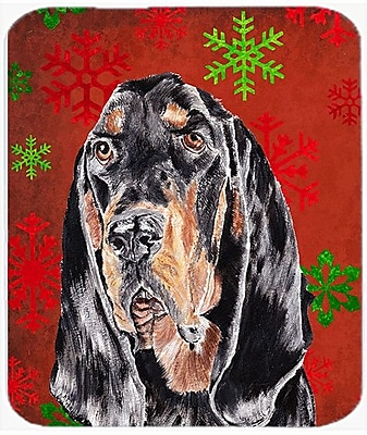 Caroline's Treasures Coonhound Snowflake Glass Cutting Board; Red/Green