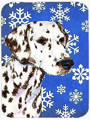 Caroline's Treasures Snowflakes Dalmatian Glass Cutting Board; Blue/White
