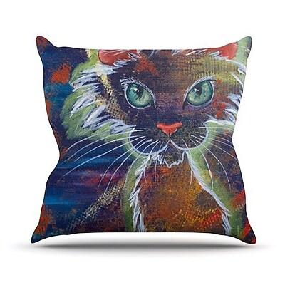 KESS InHouse Rave Kitty Outdoor Throw Pillow