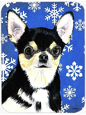 Caroline's Treasures Snowflakes Chihuahua Glass Cutting Board; Blue/White