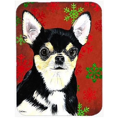 Caroline's Treasures Snowflakes Chihuahua Glass Cutting Board; Red/Green