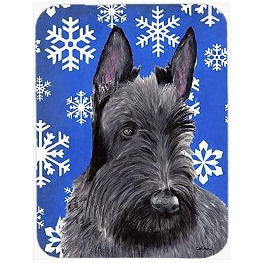 Caroline's Treasures Snowflakes Scottish Terrier Glass Cutting Board; Blue/White