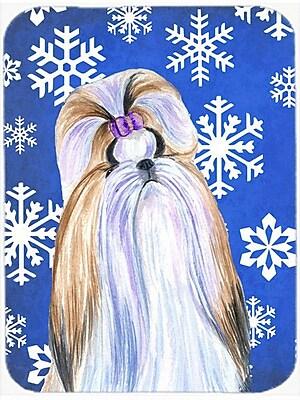 Caroline's Treasures Snowflakes Shih Tzu Glass Cutting Board; Blue/White