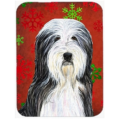 Caroline's Treasures Snowflakes Bearded Collie Glass Cutting Board; Red/Green