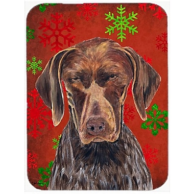 Caroline's Treasures Snowflakes German Shorthaired Pointer Glass Cutting Board; Red/Green