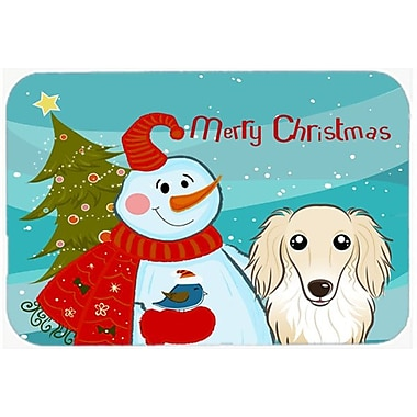 Caroline's Treasures Snowman Buddies w/ Longhair Dachshund Glass Cutting Board; Cream
