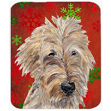 Caroline's Treasures Goldendoodle Snowflake Glass Cutting Board; Red/Green