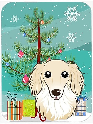 Caroline's Treasures Under the Christmas Tree and Longhair Dachshund Glass Cutting Board; Cream